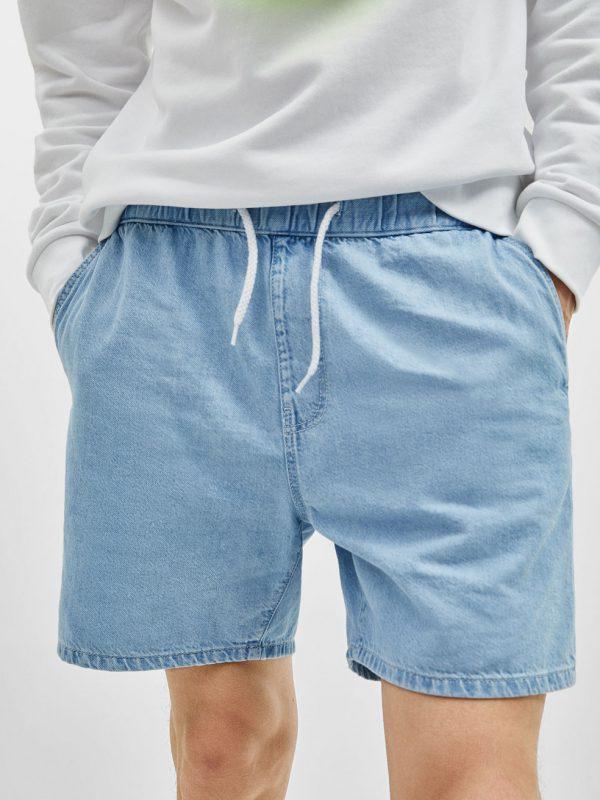 Blue Bleach Wash Denim Western Short
