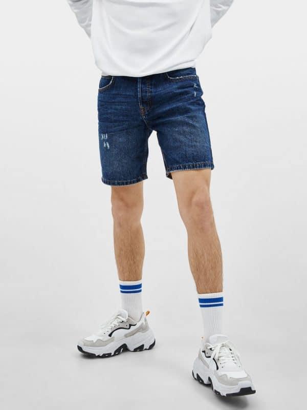 Pale Blue Washed Denim Shorts